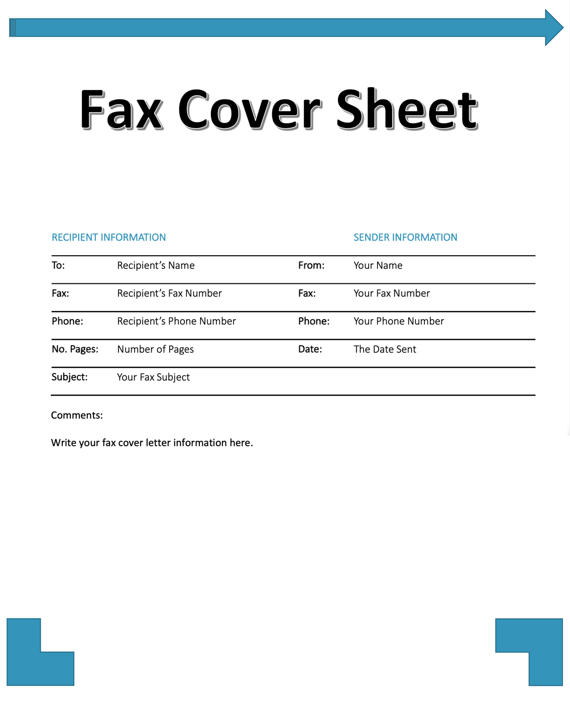 Guide Fax Cover Sheet With Template